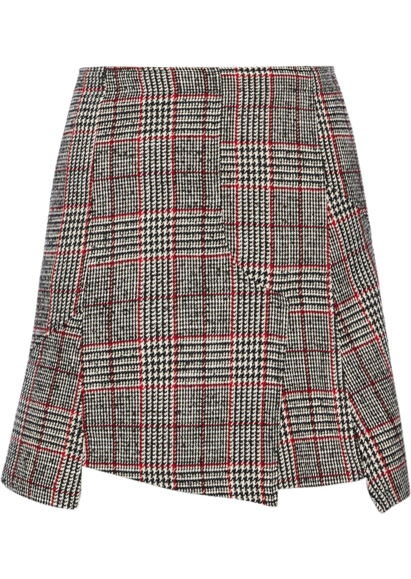 Mcq Alexander Mcqueen Woman Fringed Prince Of Wales Checked Wool-blend Mini Skirt Gray