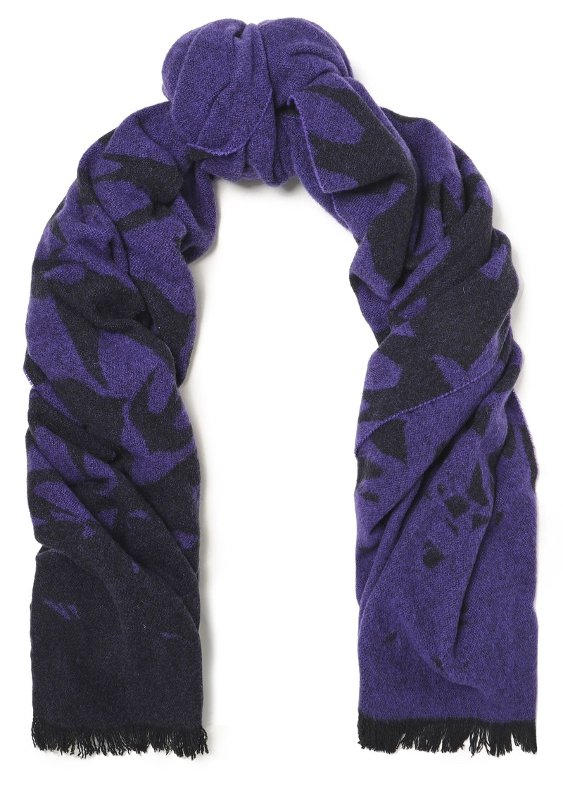 Mcq Alexander Mcqueen Woman Fringed Printed Wool-blend Scarf Purple