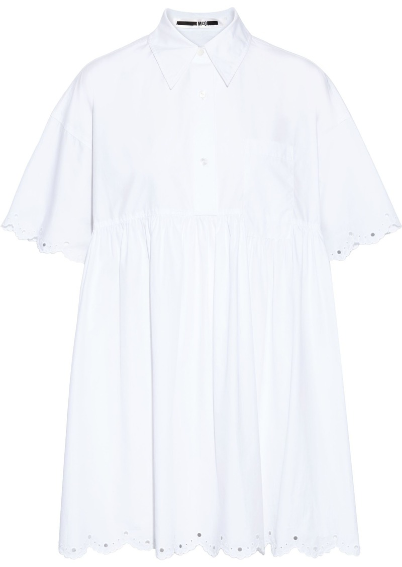 Mcq Alexander Mcqueen Woman Gathered Cotton-poplin Mini Dress White