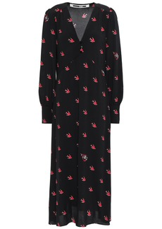 Mcq Alexander Mcqueen Woman Printed Crepe De Chine Midi Dress Black