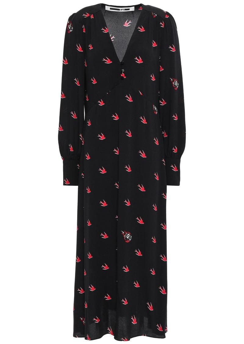 Mcq Alexander Mcqueen Woman Printed Crepe De Chine Midi Dress Black