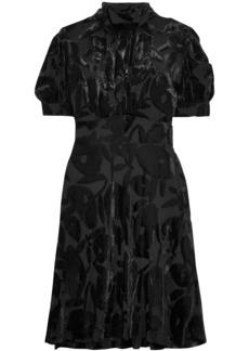 Mcq Alexander Mcqueen Woman Gathered Devoré-chiffon Mini Dress Black