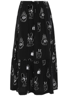 Mcq Alexander Mcqueen Woman Gathered Flocked Crepe De Chine Midi Skirt Black