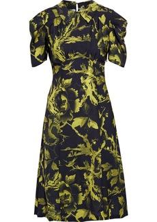 Mcq Alexander Mcqueen Woman Pleated Printed Crepe De Chine Dress Black