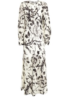 Mcq Alexander Mcqueen Woman Gathered Floral-print Washed Crepe De Chine Midi Dress Ivory