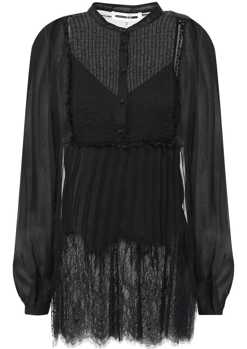 Mcq Alexander Mcqueen Woman Gathered Lace-trimmed Chiffon Blouse Black