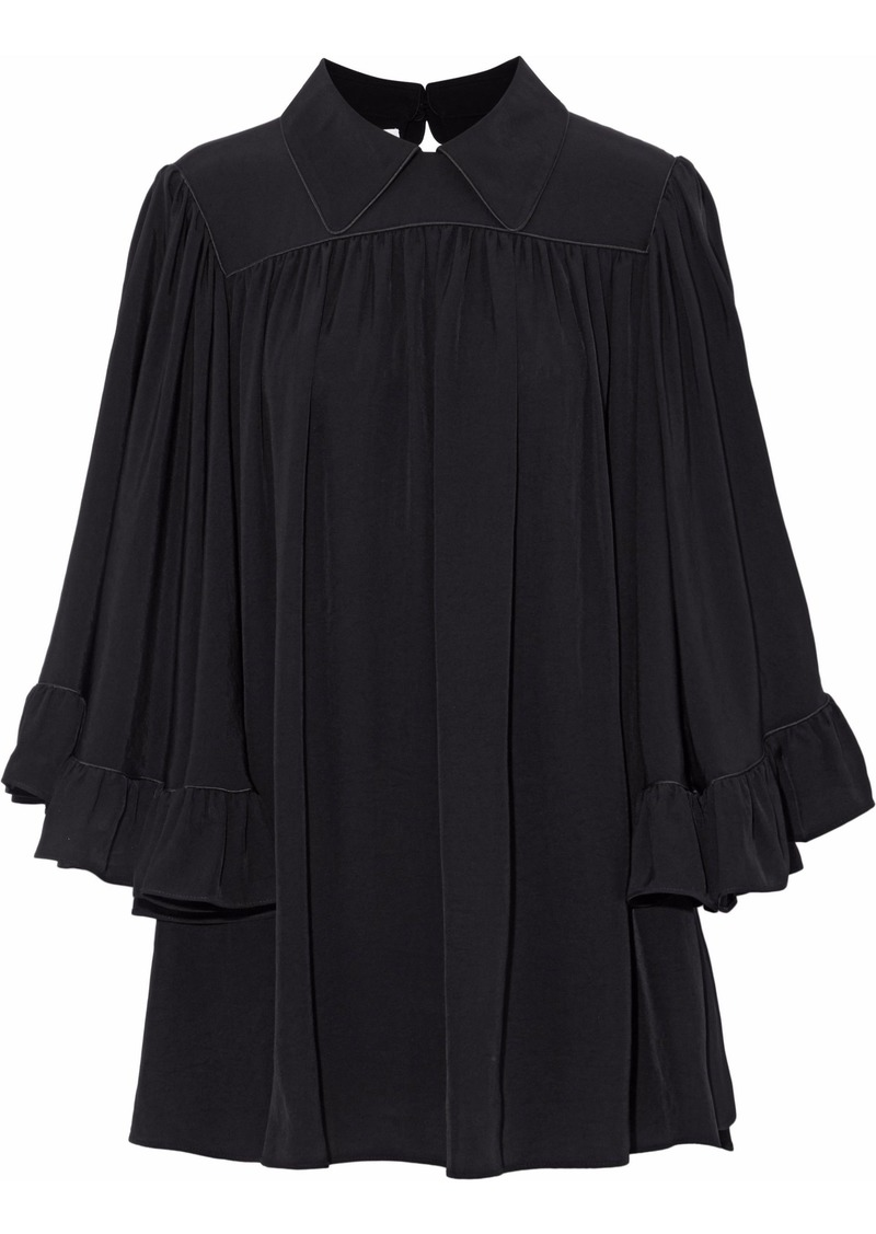 Mcq Alexander Mcqueen Woman Gathered Ruffled Cady Blouse Black