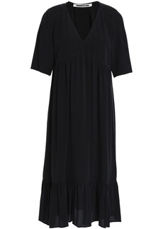 Mcq Alexander Mcqueen Woman Gathered Silk Crepe De Chine Dress Black