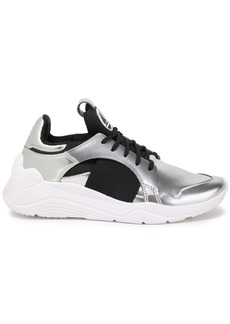 Mcq Alexander Mcqueen Woman Gishiki Mesh And Metallic Leather Sneakers Silver