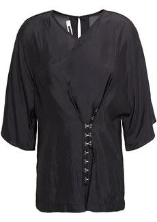 Mcq Alexander Mcqueen Woman Hook-detailed Crinkled Crepe De Chine Top Black