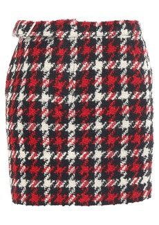 Mcq Alexander Mcqueen Woman Houndstooth Wool-blend Tweed Mini Skirt Red