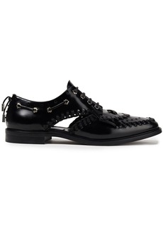 Mcq Alexander Mcqueen Woman Implode Cutout Whipstitched Glossed-leather Brogues Black