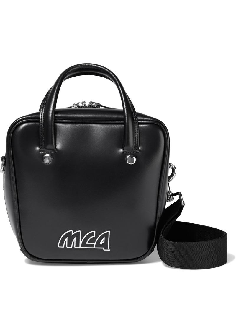 Mcq Alexander Mcqueen Woman Ivy Small Logo-appliquéd Glossed-leather Shoulder Bag Black