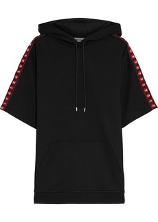 Mcq Alexander Mcqueen Woman Jacquard-trimmed French Cotton-terry Hoodie Black