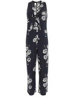 Mcq Alexander Mcqueen Woman Knotted Floral-print Twill Jumpsuit Black