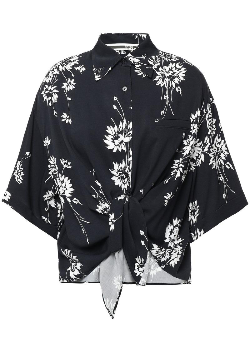 Mcq Alexander Mcqueen Woman Tie-front Floral-print Twill Shirt Black