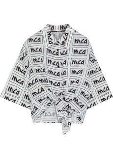 Mcq Alexander Mcqueen Woman Knotted Logo-print Broadcloth Shirt White