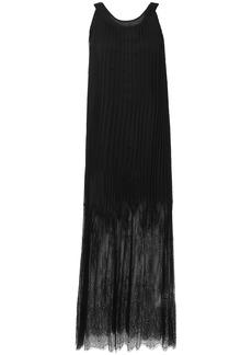 Mcq Alexander Mcqueen Woman Lace-paneled Pleated Chiffon Maxi Dress Black