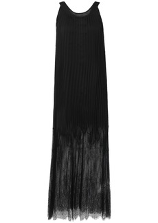 Mcq Alexander Mcqueen Woman Lace-paneled Pleated Chiffon Maxi Dress Black