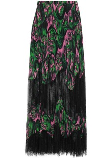 Mcq Alexander Mcqueen Woman Lace-paneled Pleated Georgette Maxi Skirt Green