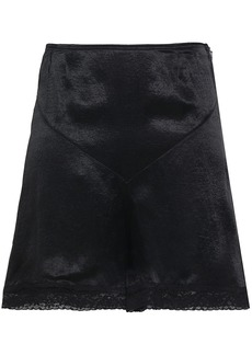 Mcq Alexander Mcqueen Woman Lace-trimmed Charmeuse Shorts Black