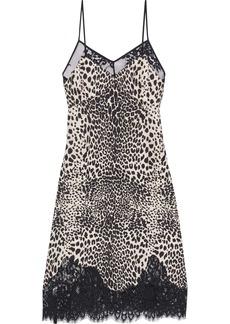 Mcq Alexander Mcqueen Woman Lace-trimmed Leopard-print Crepe De Chine Slip Dress Animal Print