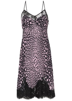 Mcq Alexander Mcqueen Woman Lace-trimmed Leopard-print Crepe Slip Dress Baby Pink