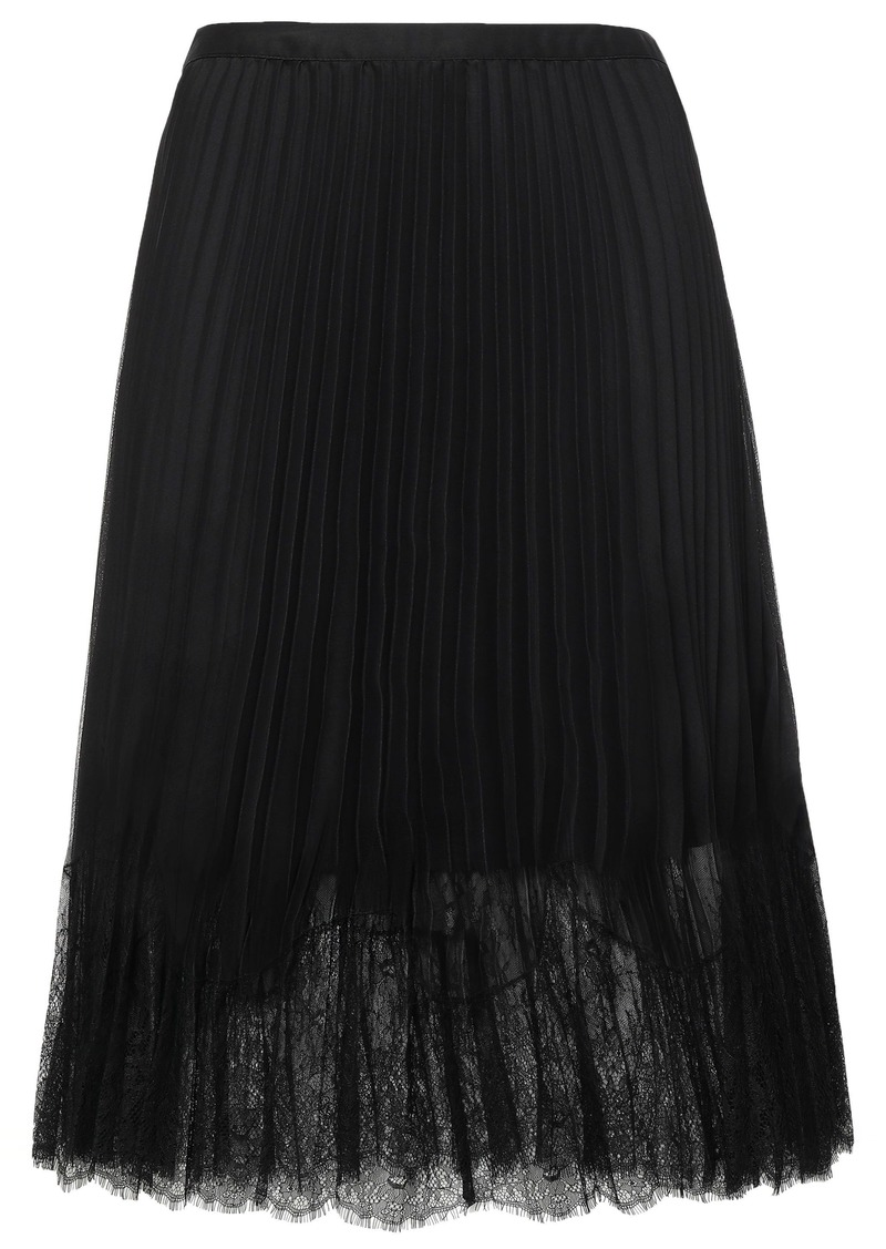 Mcq Alexander Mcqueen Woman Lace-trimmed Pleated Chiffon Midi Skirt Black