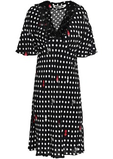 Mcq Alexander Mcqueen Woman Lace-trimmed Polka-dot Crepe De Chine Dress Black
