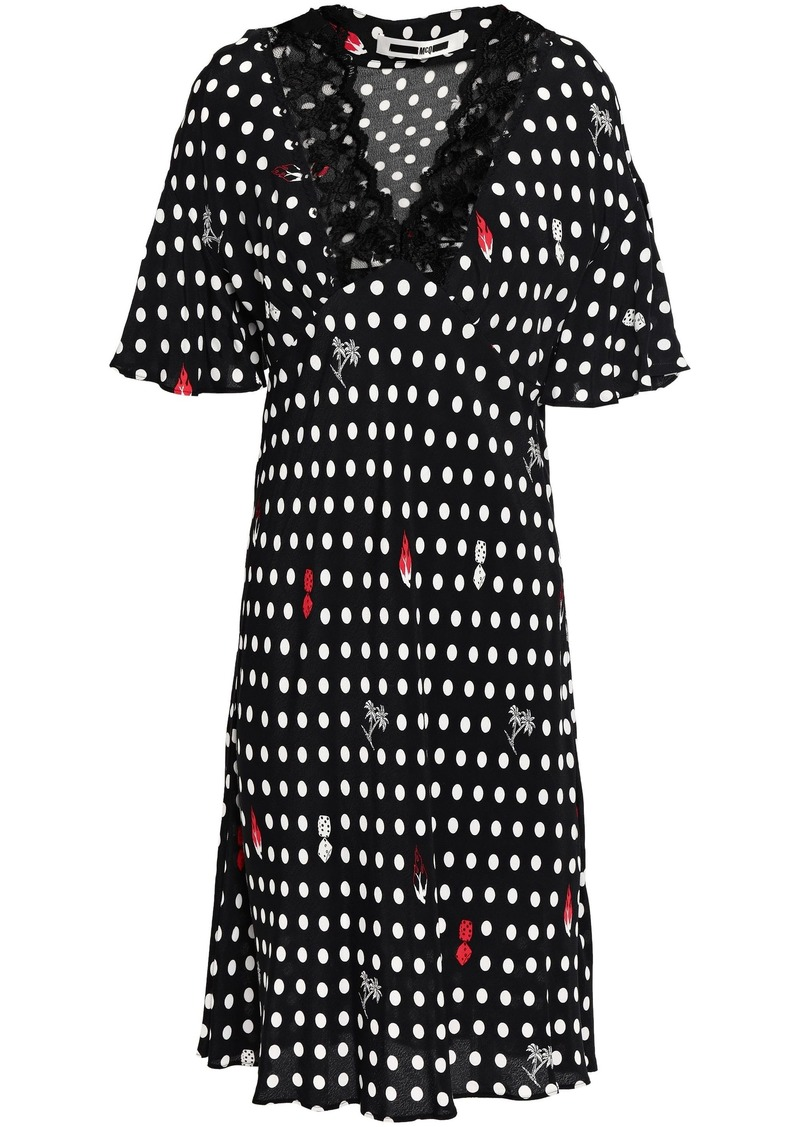 Mcq Alexander Mcqueen Woman Lace-trimmed Polka-dot Crepe De Chine Dress Black