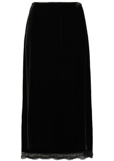 Mcq Alexander Mcqueen Woman Lace-trimmed Scalloped Velvet Midi Skirt Black
