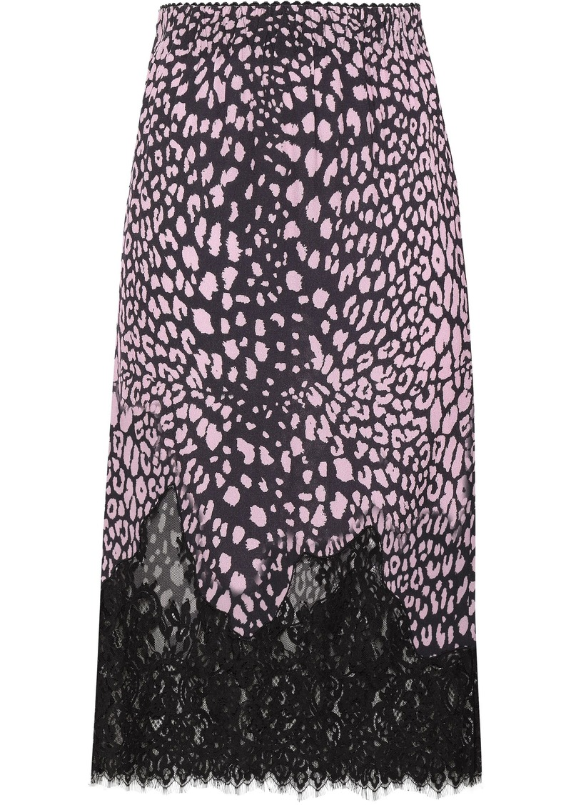 Mcq Alexander Mcqueen Woman Lace-trimmed Zebra-print Crepe Midi Skirt Baby Pink