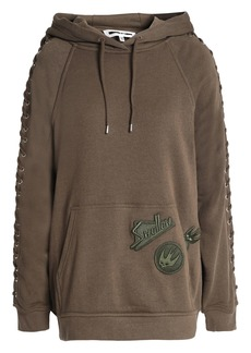 Mcq Alexander Mcqueen Woman Lace-up Appliquéd French Cotton-blend Terry Hoodie Army Green