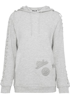 Mcq Alexander Mcqueen Woman Lace-up Appliquéd French Cotton-blend Terry Hoodie Light Gray