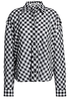 Mcq Alexander Mcqueen Woman Lace-up Checked Cotton Shirt Black
