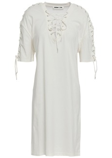 Mcq Alexander Mcqueen Woman Lace-up Cotton-jersey Mini Dress Off-white