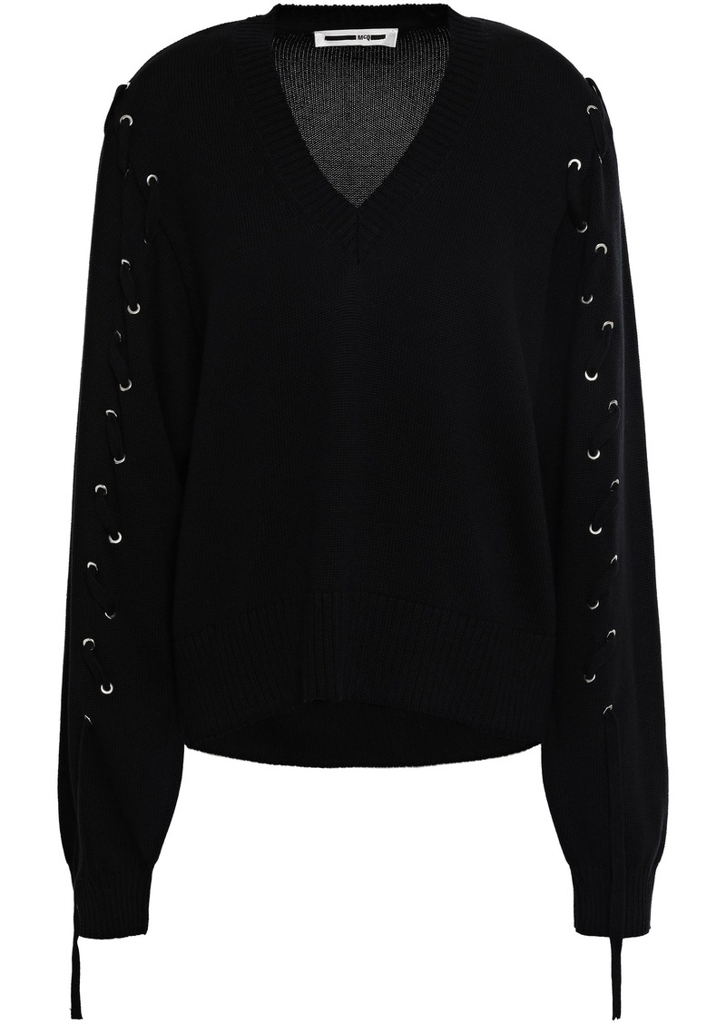 Mcq Alexander Mcqueen Woman Lace-up Cotton Sweater Black
