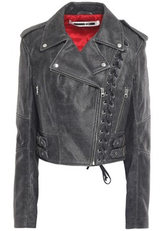 Mcq Alexander Mcqueen Woman Lace-up Cracked-leather Biker Jacket Dark Gray