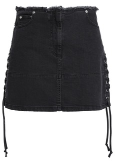 Mcq Alexander Mcqueen Woman Lace-up Denim Mini Skirt Charcoal