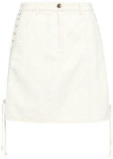 Mcq Alexander Mcqueen Woman Lace-up Denim Mini Skirt Ivory