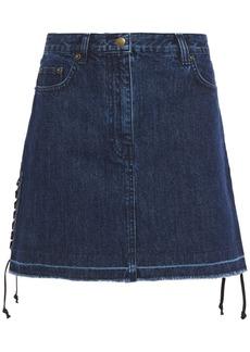Mcq Alexander Mcqueen Woman Lace-up Frayed Denim Mini Skirt Dark Denim