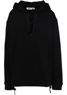 Mcq Alexander Mcqueen Woman Lace-up French Cotton-blend Terry Hooded Sweatshirt Black