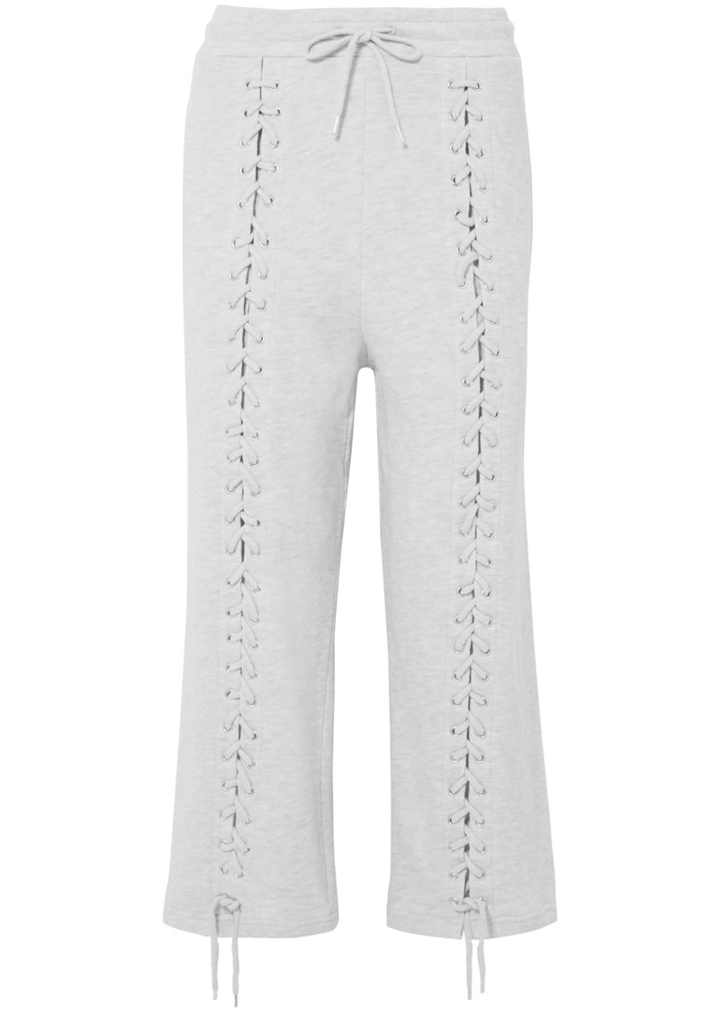 Mcq Alexander Mcqueen Woman Lace-up French Cotton-blend Terry Straight-leg Pants Light Gray