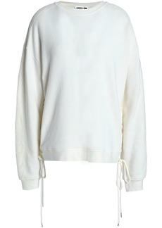 Mcq Alexander Mcqueen Woman Lace-up French Cotton-terry Sweatshirt Off-white
