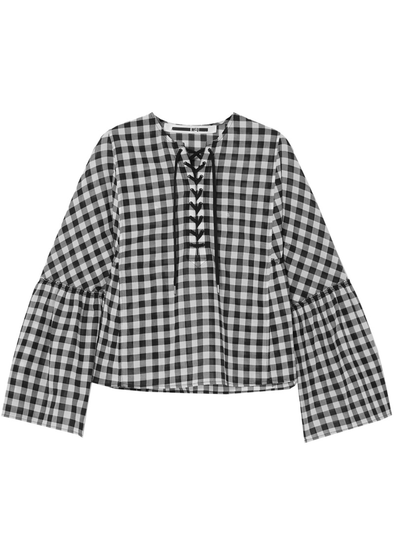 Mcq Alexander Mcqueen Woman Lace-up Gingham Cotton Top Black