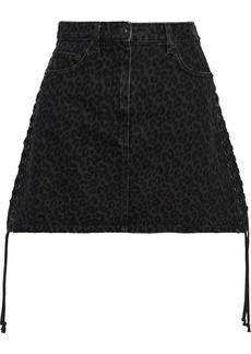 Mcq Alexander Mcqueen Woman Lace-up Leopard-print Denim Mini Skirt Dark Denim