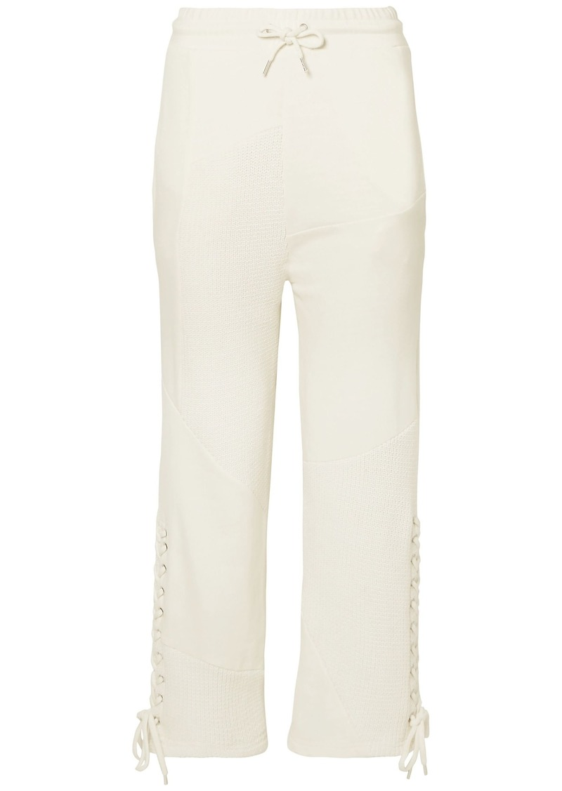Mcq Alexander Mcqueen Woman Lace-up Ribbed And French Cotton-terry Track Pants Ivory