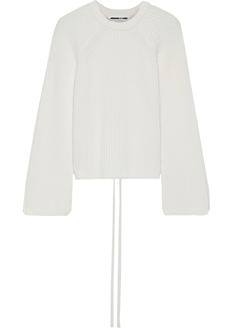 Mcq Alexander Mcqueen Woman Lace-up Ribbed Cotton Sweater Ivory