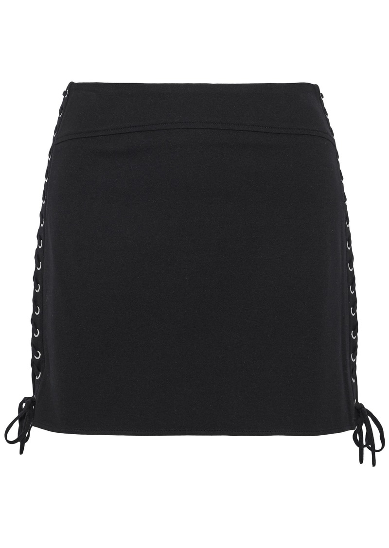 Mcq Alexander Mcqueen Woman Lace-up Stretch-knit Mini Skirt Black