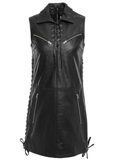 Mcq Alexander Mcqueen Woman Lace-up Textured-leather Mini Dress Black